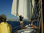 Sailir Tom the human whisker pole running Sailing to Marina del rey